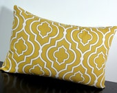 Mustard Yellow Gold Moroccan Trellis decorative lumbar throw pillow cover 12 x18 inches Accent cushion sham slipcover.