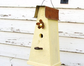 Rustic Yellow Birdhouse Cottage Farmhouse Garden Decor Outdoor Bird House