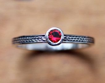 Red ruby ring sterling silver, silver ruby ring, birthstone stacking ring, July birthstone ring promise ring braided silver ring custom made