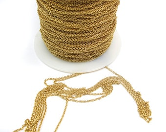 Gold Plated on Brass Cable Chain (6 feet) (C804-A)