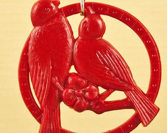 Vintage Red Kissing Celluloid Bird Necklace..silver loop, no chain