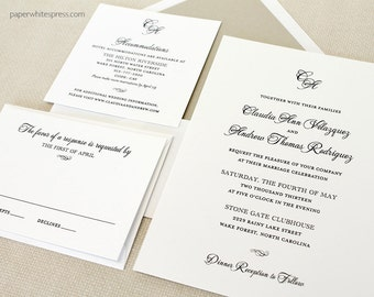 "Classic Script Traditional Timeless ""Claudia"" Wedding Invitation - SAMPLE Set"