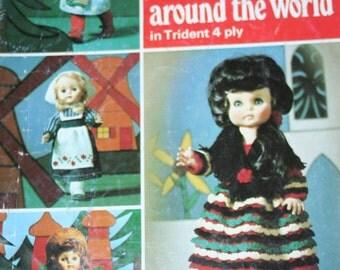 Knitting Patterns Dolls Clothes around the World Patons 3009 to Fit 18 Inch Dolls Ethnic Costumes Vintage Original, NOT a pdf.