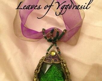 LEAVES OF YGGDRASIL/Tree of Life/Green Quartz/Necklace/Hand Embossed/Vintage Copper/ Freyja/Fehu/Runes/Viking/Pendulum/Talisman/Collectible