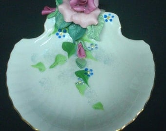 Shabby Cottage Pink Shelll Dish with Pink Rose Leaves Chic Hand Crafted