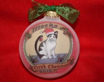 CHRISTMAS KITTY ORNAMENT, Original, Hand-painted, customized and personalized ornament