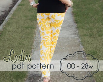 Ladies Skinny Pants, Capris and Shorts - INSTANT DOWNLOAD - 00 through 28w, 7 length options - pdf sewing pattern