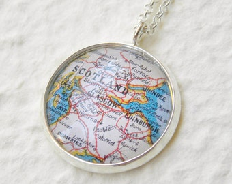Scotland Map Necklace featuring Edinburgh, Glasgow, Stirling, Falkirk, Motherwell, Dundee, Perth and more