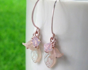 Pink Lucite Flower Leaf Earrings Rose Gold Hoop Handmade Earwires Swarovski Crystals - Pale Petal Pink Handmade Jewelry