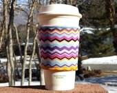 Fabric coffee cozy / cup holder / coffee sleeve / can koosie / mason jar cozy - Bold chevron stripes