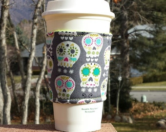 FREE SHIPPING UPGRADE with minimum -  Fabric coffee cozy / cup sleeve / coffee sleeve / coffee cup holder - Boneheads Happy Skulls