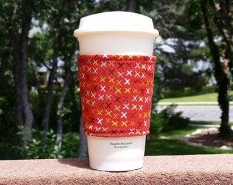 Fabric coffee cozy / cup sleeve / coffee sleeve / coffee cup holder -- orange with x +