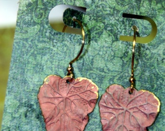 Distressed Matte PINK Falling Leaves Touched with Gold Dangle Earrings Lightweight
