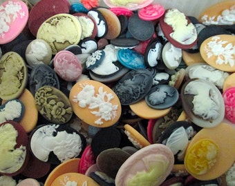50pc assorted mix of cameo cabochons, cute cab grab bag