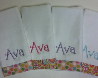 Boutique Burp Cloths, Personalized burp cloth set, Monogrammed burp cloths, baby shower gift, embroidered burp cloths