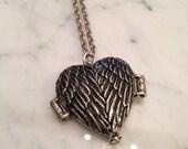 Angel Wing Locket Necklace Mourning Locket Ashes Locket