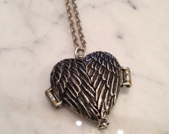 Angel Wing Locket Necklace Mourning Locket Ashes Locket