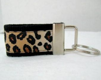 Mini Leopard Key Fob - Cheetah Keychain BLACK - Animal Print Small Key Chain - Cheetah Zipper Pull
