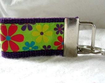 Floral Mini Key Fob Groovy Small Key Chain Purple Bold Flowers