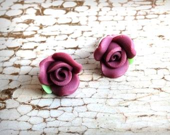 Rose earrings, polymer clay flower earrings, rose stud earrings, rose earrings studs, cottage chic earrings