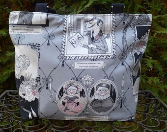 Ghastlie Gallery purse, zippered purse with short or long handles you pick, The Tootsie