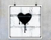 Black Bleeding heart stencil graffiti: Alternative Valentine romantic love urban street art London - square photo photograph 7x7 12x12 18x18