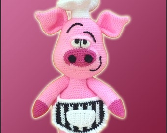 Amigurumi Pattern Crochet Pierre Chef Pig DIY Instant Digital Download PDF