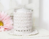 Antique White Votive Candle Holder, Vintage Inspired Lace Candle Sleeve, Cozy Home Decor Accessory