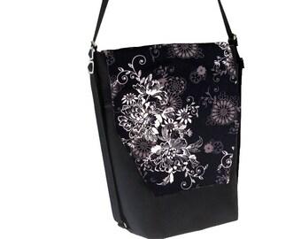 Backpack Convertible Bag - Shoulder Bag - Cross Body Purse - iPad Purse -3 in 1 bag- REMOVABLE FLAP - Borsa Bella - Black Beauty Fabric