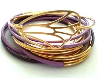 Leather Bracelet Set - Butterfly Bangle - Leather Bangle - Purple Bangle - Purple Leather Bracelet - Wrap Bracelet - Boho stackable bracelet