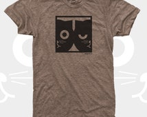 Men's TShirt, Dueling Watson the Cat, Men Tee Shirt, Cat, Crazy Cat, Mens Cat Shirt, Men Graphic Tee, Brown (4 Colors) T-Shirt for Men