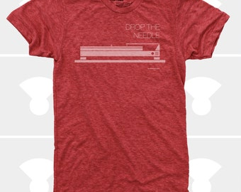 Men's TShirt Drop the Needle (Men), Dieter Rams, Turntable, DJ, Music T-Shirt, Red, Mid Century, Men's Shirt (4 Colors) for Men