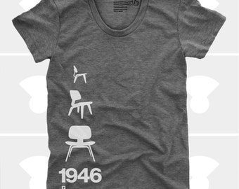 Women's TShirt Eames Plywood Chair 1946, Womens Top, Mid Century Modern, Eames Lounge Chair Shirt, Grey (4 Colors) T-Shirt for Women