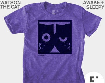 Cat Shirt Boys, Boys Clothes, Boys Cat TShirt, Dueling Watson the Cat, Hipster Kid, Baby Boy Clothes, Boys Graphic Tee, Purple, Boy Toddler