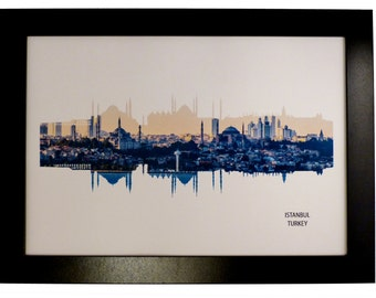 Istanbul, Turkey Skyline Print with aerial city photo