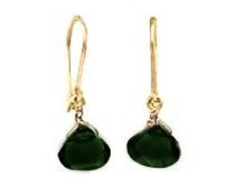 Black Staffordshire 14 Karat Gold Tourmaline Earrings