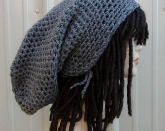 Rasta super long gray or other color custom snood tam dreadlock rasta dread tam extreme slouchy hat