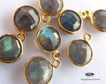 4 pcs 8mm Stone Gold Bezel Labradorite Gemstone Wrap Charm F383