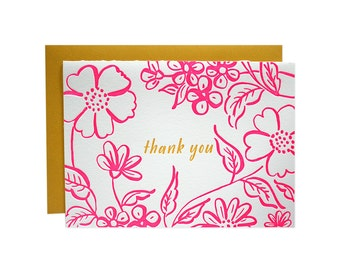 Floral Thank You Letterpress Card
