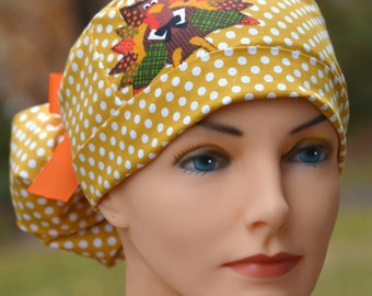 Thanksgiving Fall Ponytail Womens Surgical Scrub Hat - Turkey Day Applique