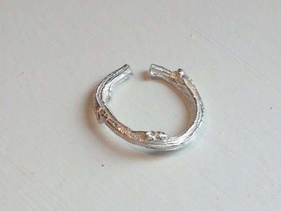 Sterling Silver Twig Toe Ring- Frosted Sterling or Oxidized Sterling