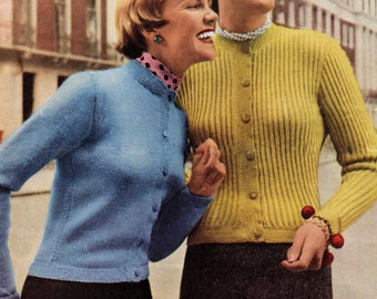 Vintage 1950s Knitting Pattern 2 Ladies Jackets Emu 396 Double Knitting Instant Download
