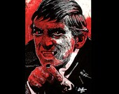 "Print 11x17"" - Barnabas Collins - Dark Art Vampire Horror Dark Shadows Blood Red Pop Art Jonathan Frid TV Comedy Johnny Depp Classic Dracula"