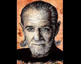 "Print 11x17"" - George Carlin - Comedian Comedy Beard Political Planet Earth Funny Laugh Social Commenary SNL Pop Art Lowbrow Art Portrait"