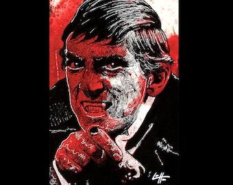 "Print 11x17"" - Barnabas Collins - Dark Art Vampire Horror Dark Shadows Blood Red Pop Art Jonathan Frid TV Comedy Johnny Depp Classic Dracula"