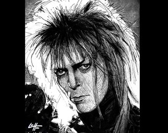 "Print 8x10"" - Jareth - Labyrinth Movie David Bowie Fantasy British Jim Henson Fantasy Goblin King Dark Art Surreal Magic Ziggy New Wave"