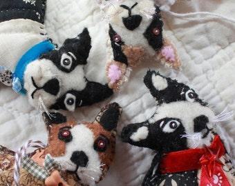 Your Boston Terrier Custom Made - Quilty Critter Doggy - Pets, Dogs, Breeds - Ornament, Love Token, OOAK, Folk Art