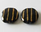 Kazuri Beads, Fair Trade Beads, Black with Gold Stripe, Set of 2 Beads, 22mm-destash