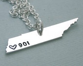 901  Necklace - Sterling Silver Tennessee Necklace - I love Memphis - I love Tennessee - Long Distance Relationship