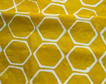 Hexies Hand Dyed Fabric in Marigold